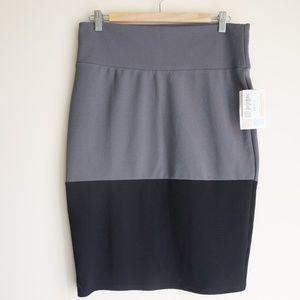 Lularoe Cassie Skirt Grey Black NWT